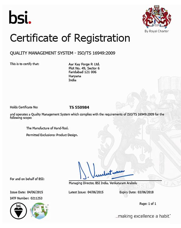 Certificate TS 16949