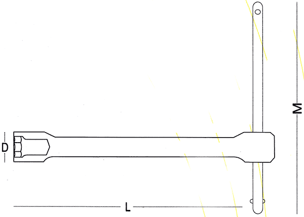 T Handle Spanners 270004 Line Drawing