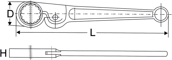Ratchet Spanners 330001 Line Drawing